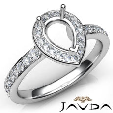 Diamond Engagement Halo Pave Setting Pear Semi Mount Ring 14K White Gold 0.45Ct
