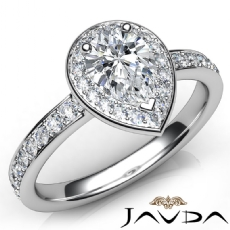 Halo Side-Stone Pave Set Pear diamond engagement Ring in 14k Gold White