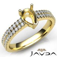 U Shape Prong Setting Diamond Engagement Pear Semi Mount Ring 14k Gold Yellow  (0.5Ct. tw.)