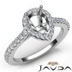 Diamond Engagement Pear Semi Mount Shared Prong Setting Ring 14k White Gold 0.5Ct - javda.com