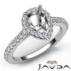 Diamond Engagement Pear Semi Mount Shared Prong Setting Ring 14K W Gold 0.50Ct