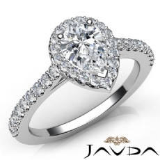 Halo U Cut Pave Side Stone Pear diamond engagement Ring in 14k Gold White
