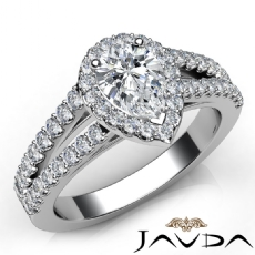 Split Shank Side-Stone Halo Pear diamond engagement Ring in 14k Gold White