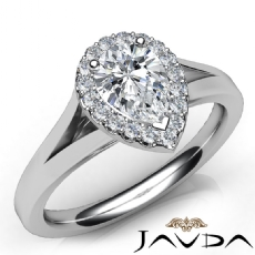 Halo Pave Set Split-Shank Pear diamond engagement Ring in 14k Gold White