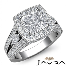 Circa Halo Sidestone Pave Cushion diamond engagement Ring in 14k Gold White