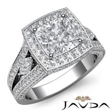 Circa Halo Sidestone Pave Cushion diamond engagement Ring in Platinum 950