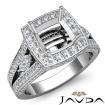 Cushion Diamond Engagement Ring Split Shank SemiMount Pave Set 14k White Gold 1.7Ct - javda.com