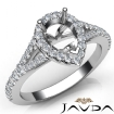 Diamond Engagement 14k White Gold Halo Pave Setting Pear Semi Mount Ring 0.5Ct - javda.com