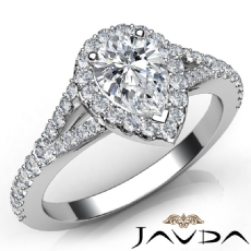Halo Pave Set Split Shank Pear diamond engagement Ring in 14k Gold White
