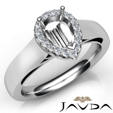 Pear Diamond Engagement Halo Pave Setting Semi Mount Ring 14K White Gold 0.20Ct