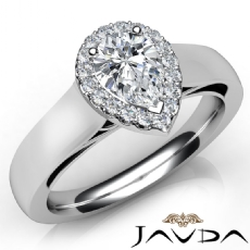 Filigree Shank Halo Pave Pear diamond engagement Ring in 14k Gold White