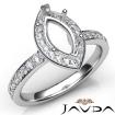 Diamond Engagement Halo Pave Setting Marquise Semi Mount Ring 14k White Gold 0.45Ct - javda.com