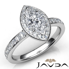 Halo Pave Sidestone Accent Marquise diamond engagement Ring in 14k Gold White