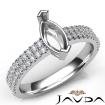 U Cut Prong Setting Diamond Engagement Marquise SemiMount Ring 14k White Gold 0.5Ct - javda.com