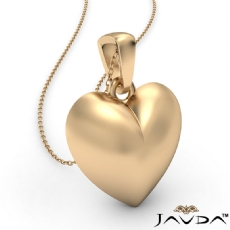4.5 Gram Gold Puffed Heart Charm Pendant Necklace 14k Yellow Gold 18 Inch Chain
