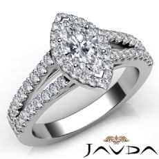 Shared U Prong Set Halo Marquise diamond engagement Ring in 14k Gold White