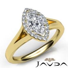 Split Shank Halo French Pave Marquise diamond  Ring in 14k Gold Yellow