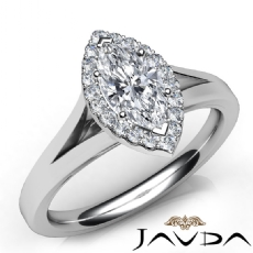 Halo Pave Bridge Sidestone Marquise diamond engagement Ring in 14k Gold White