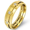 Eternity Wedding Band Round Bezel Diamond Mens Dome Ring 18k Gold Yellow 0.25Ct
