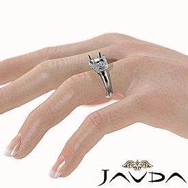 Diamond Engagement 3Stone Ring 14k White Gold Cushion Semi Mount Halo Band 1.05Ct