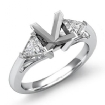 Three Stone Diamond Engagement Trillion Princess Setting 14k White Gold 0.55Ct - javda.com