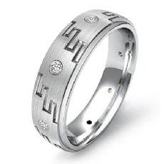 Greek Key Men's Bezel Set Diamond Eternity Wedding Band 14k White Gold 0.10 Ct