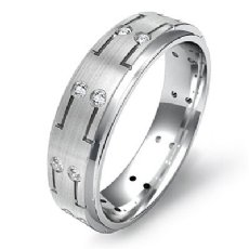 0.16 Ct. Step Edge Bezel Matte Men's Diamond Eternity Wedding Band 14k W Gold