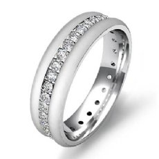 14k White Gold Pave Set Diamond Eternity Men's Wedding Band 0.75 Ct. T.W.