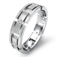 Link Bezel Set Diamond Men's Eternity Matte Wedding Band 14k White Gold 0.15 Ct