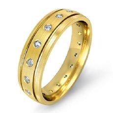 Bezel Set Diamond Matte Finish Men's Eternity Wedding Band 14k Gold Yellow (0.35Ct. tw.)