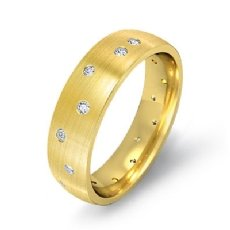 Men's Gypsy Set Diamond Matte Eternity Wedding Band in 18k Gold Yellow  (0.25Ct. tw.)