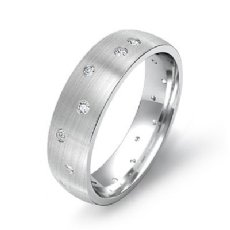 Men's Gypsy Set Diamond Matte Eternity Wedding Band in 14k White Gold 0.25 Ct