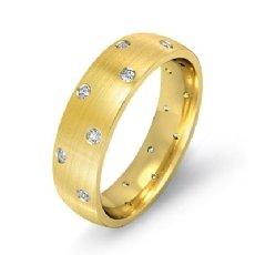 Bezel Diamond Matte Eternity Men's Wedding Band in 14k Gold Yellow  (0.2Ct. tw.)