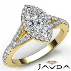 French Set Halo Split Shank Marquise diamond  Ring in 14k Gold Yellow