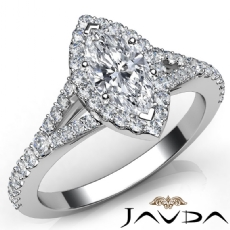 Shared Prong Halo Split Shank Marquise diamond engagement Ring in 14k Gold White