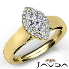 Cathedral Wide Band Halo Pave Marquise diamond  Ring in 14k Gold Yellow