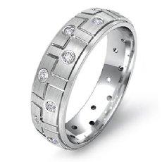 Men's Bezel Set Diamond Eternity Step Edge Wedding Band 14k White Gold 0.26 Ct