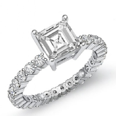 Classic Eternity Prong Set Asscher diamond engagement Ring in 14k Gold White