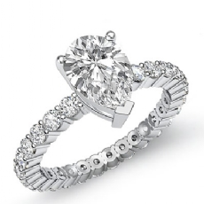 Classic Eternity Prong Set Pear diamond engagement Ring in 14k Gold White