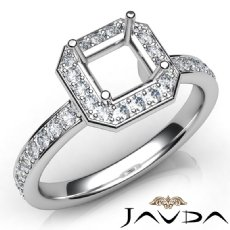 Diamond Engagement Halo Pave Setting Asscher Semi Mount Ring 14K W Gold 0.45Ct