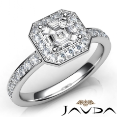 Halo Pave Setting Sidestone Asscher diamond engagement Ring in 14k Gold White