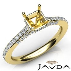 Diamond Engagement Pave Setting 18k Gold Yellow Asscher Semi Mount Ring  (0.65Ct. tw.)