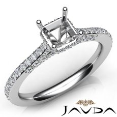Diamond Engagement Pave Setting 14K White Gold Asscher Semi Mount Ring 0.65Ct