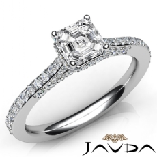 Side Halo Pave Setting Asscher diamond engagement Ring in 14k Gold White