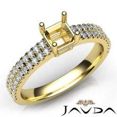 U Cut Prong Setting Diamond Engagement Asscher Semi Mount Ring 14k Gold Yellow  (0.5Ct. tw.)