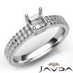 U Cut Prong Setting Diamond Engagement Asscher Semi Mount Ring 14k White Gold 0.5Ct - javda.com