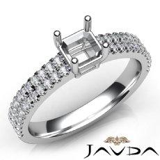 U Cut Prong Setting Diamond Engagement Asscher Semi Mount Ring Platinum 950  (0.5Ct. tw.)