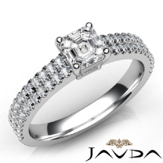 2 Row Shank Basket Style Asscher diamond engagement Ring in 14k Gold White