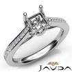 Channel Setting Diamond Engagement Asscher Semi Mount Ring 14k White Gold 0.3Ct - javda.com