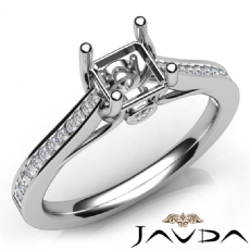 Channel Setting Diamond Engagement Asscher Semi Mount Ring 14K White Gold 0.30Ct